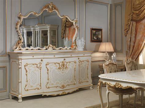 Mirror Columns by Sideboard Table And Chairs In Louis Xv Style Vimercati