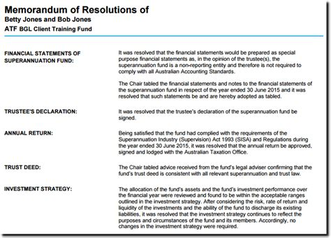 trustee resolution template trustee minute resolution preparation simple fund 360