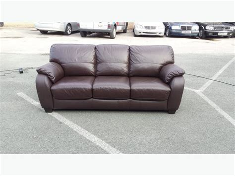 3 Seater Leather Sofa Bed Ex Display Moods Brown Leather 3 Seater Sofa Bed Outside