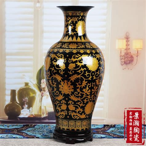 Large Black Floor Vase by Ceramics Black Glaze Gold Fish Large Floor Vase