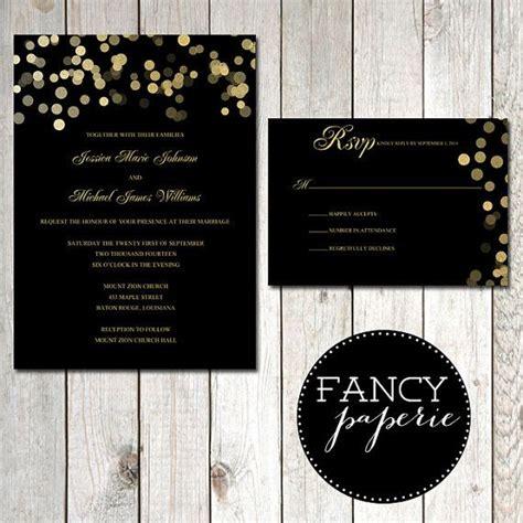 Einladungskarten Hochzeit Schwarz by Schwarz Und Gold Glitter Hochzeit Einladungen Rsvp