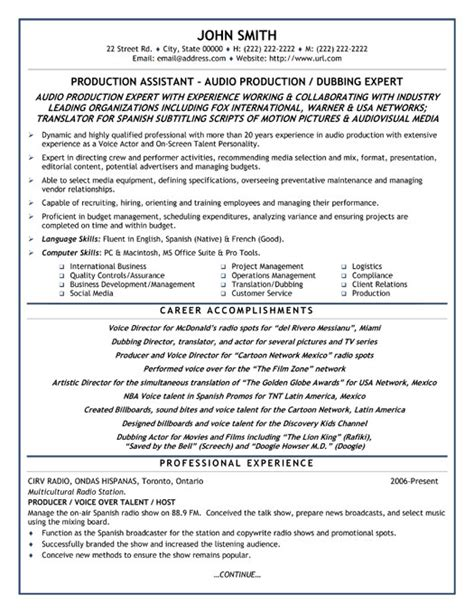 Resume Templates For Production Production Assistant Resume Template Premium Resume Sles Exle