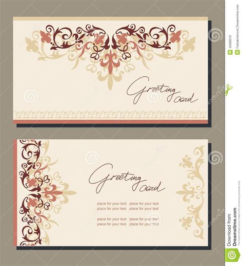 retro place card template vintage greeting cards floral motifs stock illustration