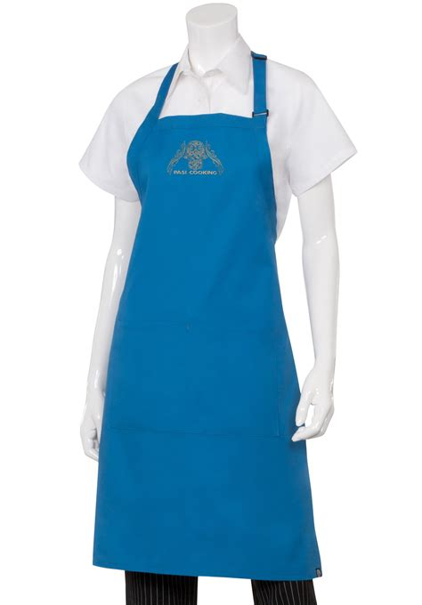 blue apron pasi cooking embroidered blue chef s bib apron