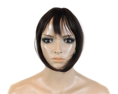 human hair weave closure with bangs recurlable human hair mix blend top closure with bangs 10