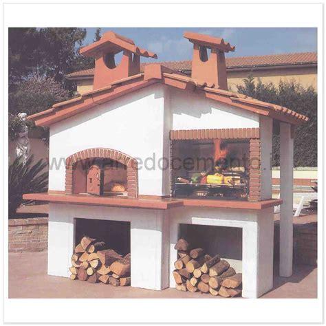 forni a legna e barbecue da giardino forno e barbecue a legna canada cm240x180x260h in cemento