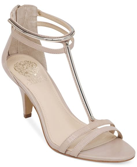 dress sandals vince camuto mitzy dress sandals in beige sandbar lyst