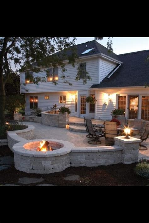 backyard patios with fire pits back yard fire pit and stone patio the great outdoors