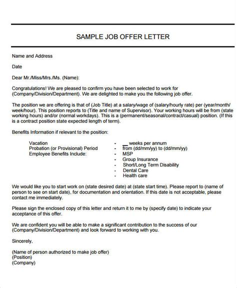 Offer Letter Laws 40 offer letter exles