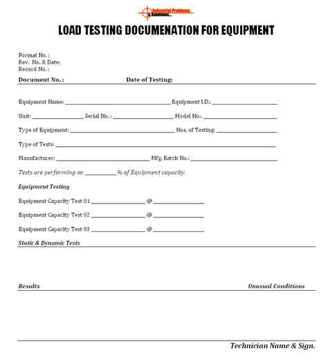 load test plan template load testing documentation for equipment