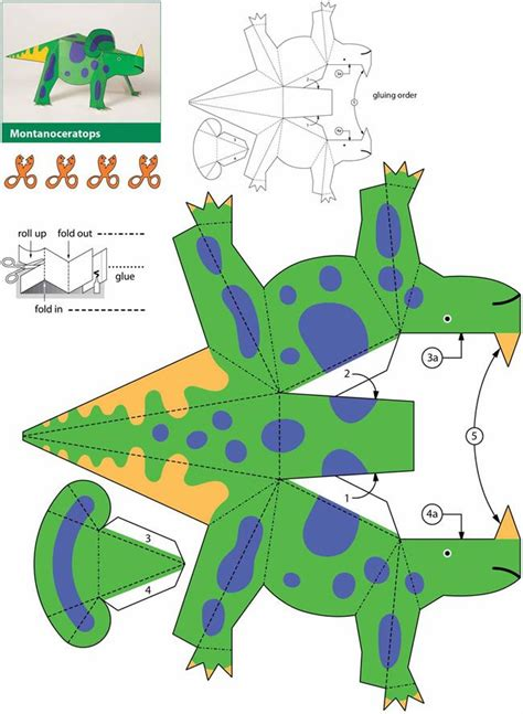 Papercraft Dinosaur - dinosaurs kiragami for easy to make paper toys 4