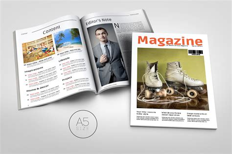 a5 magazine template magazine templates on creative market