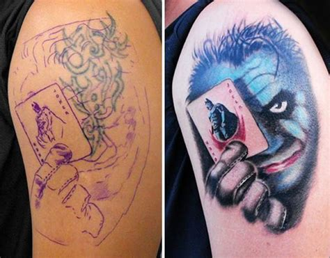 joker tattoo cover up 55 cover up tattoos impressive before after photos