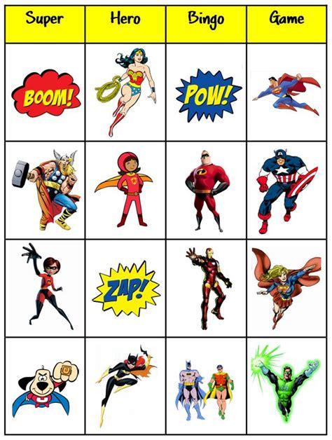 printable super heroes printable bingo cards superhero thematic unit