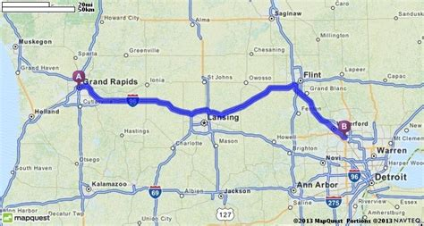 mapquest grand driving directions from grand rapids michigan to pontiac