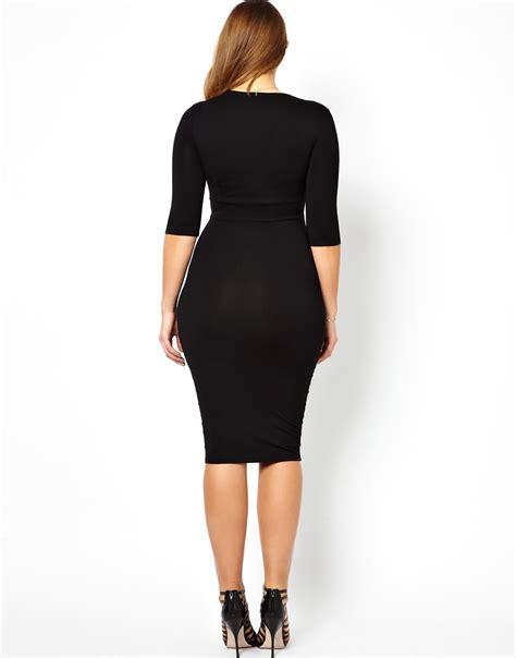 Jaspria Jas Exclusive Black Formal asos exclusive bodycon midi dress with gold belt in black