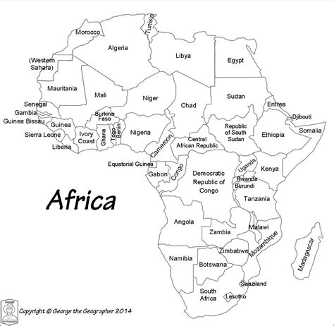 printable map africa countries africa map with names of countries africa map