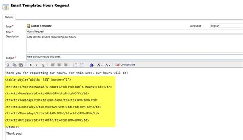 Using Html To Format Text In Email Powerobjects Crm Email Templates