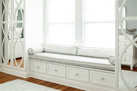 white window bench mirrored wardrobes transitional bedroom karen b wolf
