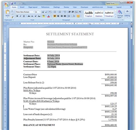 settlement statements adjustment sheets statement of