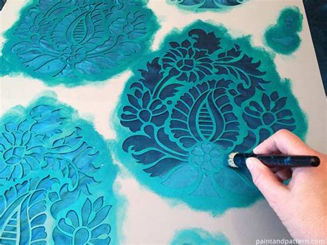 diy screen print india india inspired part 2 stenciling on silk fabric paint