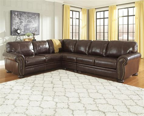 leather nailhead sectional sofa 3 piece leather match sectional with rolled arms nailhead