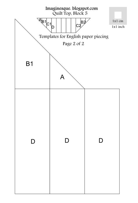 pattern of english paper imaginesque quilt top block 5 pattern templates for