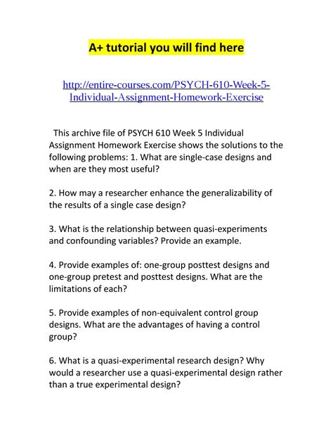 experimental design exercise psych 610 week 5 individual assignment homework exercise