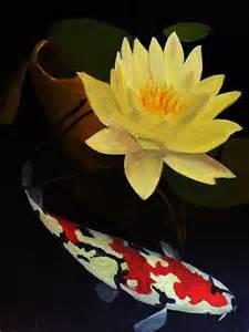 Koi Lotus Lotus And Koi Plant And Animal Painting By Glenn Ledford