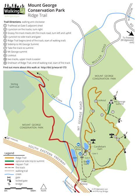 walking maps ridge trail mount george conservation park walking sa