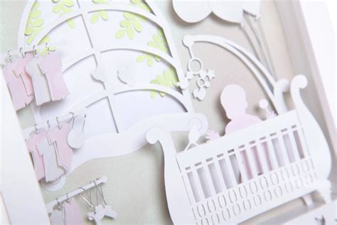 Hiasan Dinding Custom Kado Souvenir Baby Born Bayi Shabby Chic new born baby 3d paperart cutteristic the of paper cutting