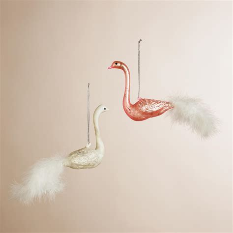 swan ornaments mercury glass feather swan ornaments set of 2 world market