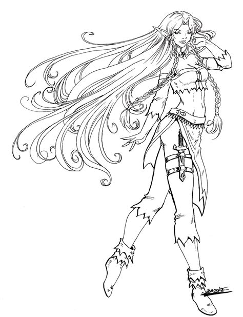 anime elf coloring pages anime elf warrior coloring pages coloring pages
