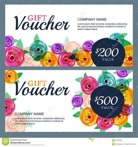 floral gift card template vector gift voucher template with decorative flowers