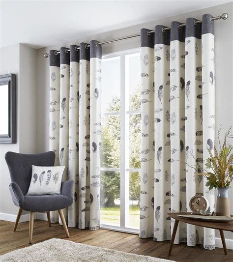 cream grey curtains feather grey cream beige white lined 100 cotton ring top