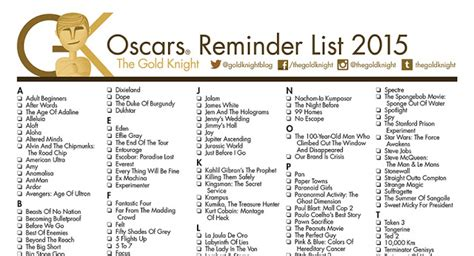 oscar film list 2014 oscars 2016 printable best picture reminder list the