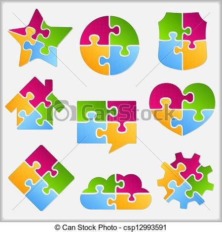 puzzle design elements vector eps vectors of puzzle objects collection set of