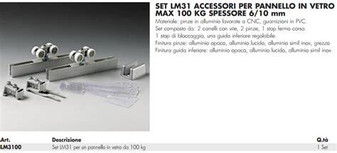 carrelli porte scorrevoli kit lm31 174 carrelli e pinze per porte in vetro sistemi in