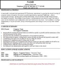 ict technician support cv example forums learnist org