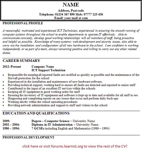 exle cv for gcse student ict technician support cv exle forums learnist org