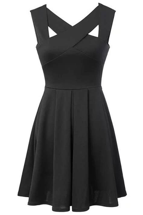 crisscross  neck sleeveless open  pleated dress