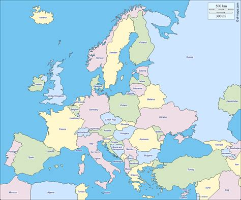europe outline map with country names blank map of europe to color