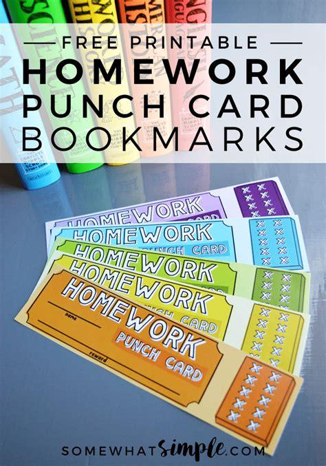 homework punch card bookmarks  printables