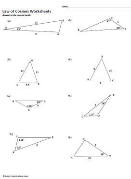 Of Cosines Practice Worksheet by The 25 Best Ideas About Of Cosines On