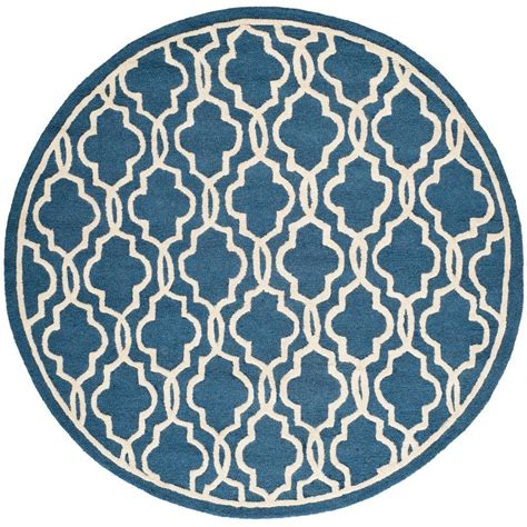 Safavieh Cambridge Navy Ivory 6 Ft X 6 Ft Round Area Rug 6 Foot Area Rugs
