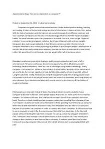 Argumentitive Essay by Argumentative Essay