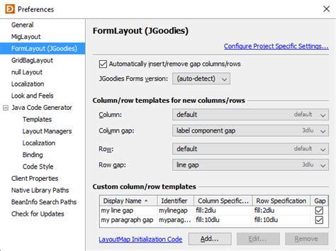 sap ui layout form formlayout preferences jformdesigner java swing gui designer