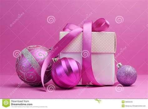 pink theme christmas gift and bauble decorations royalty