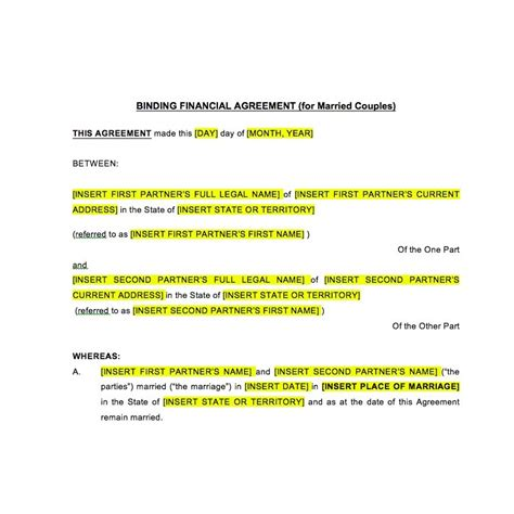 financial agreement template postnuptial binding financial agreement during marriage