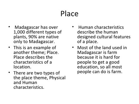 5 themes of definition madagascar and the five themes of geography